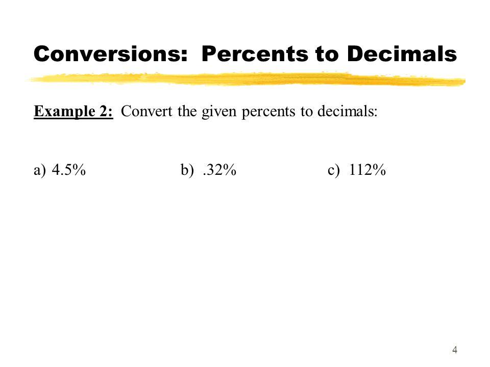 Conversions: Percents to Decimals