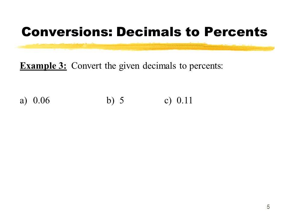 Conversions: Decimals to Percents