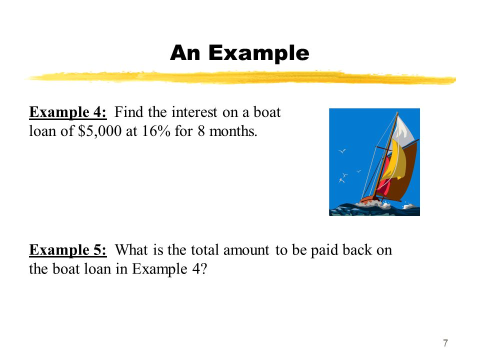 MAT 103 SPRING 2009 An Example. Example 4: Find the interest on a boat loan of $5,000 at 16% for 8 months.
