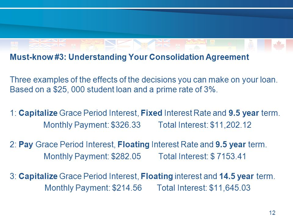 Must-know #3: Understanding Your Consolidation Agreement Three examples of the effects of the decisions you can make on your loan.