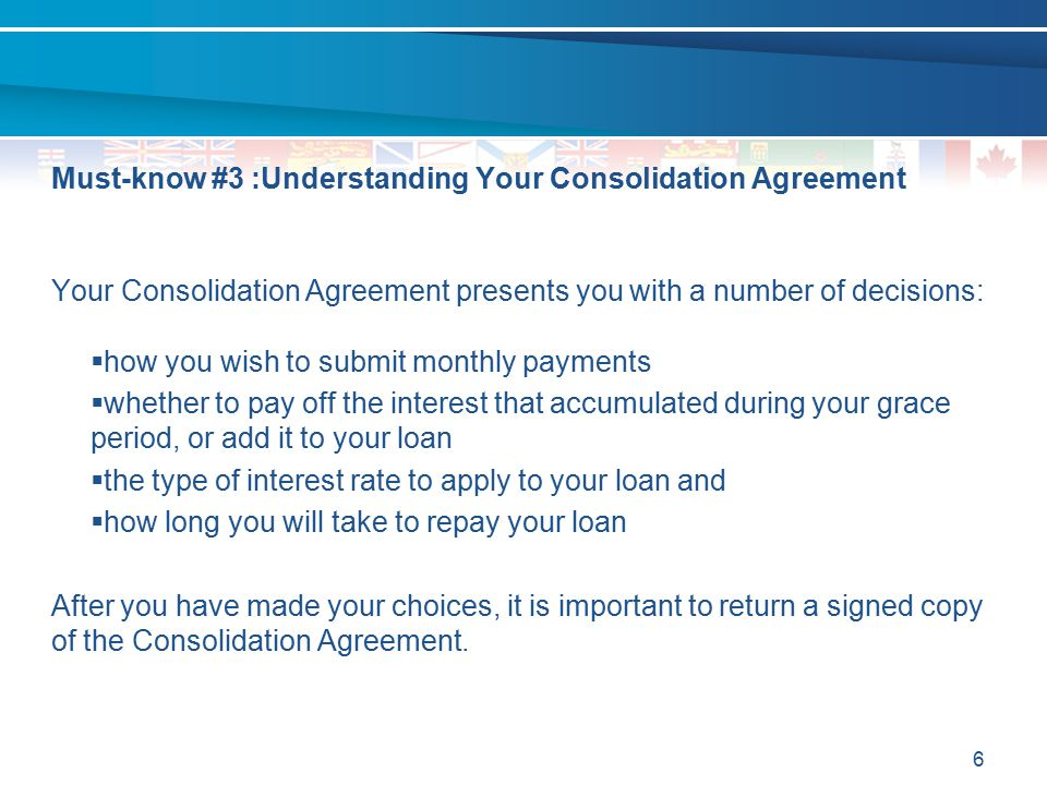 Must-know #3 :Understanding Your Consolidation Agreement