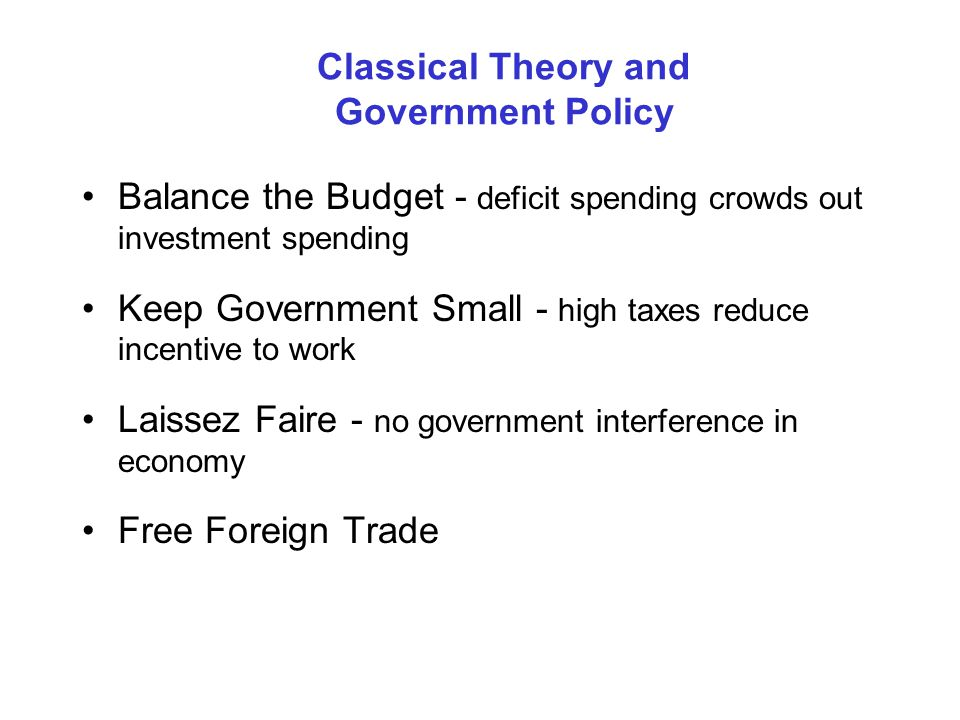 Classical Theory and Government Policy