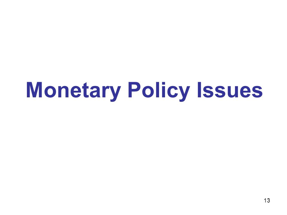 Monetary Policy Issues