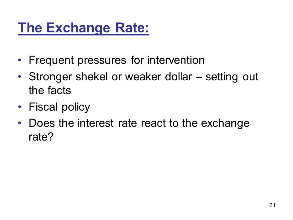 The Exchange Rate: Frequent pressures for intervention