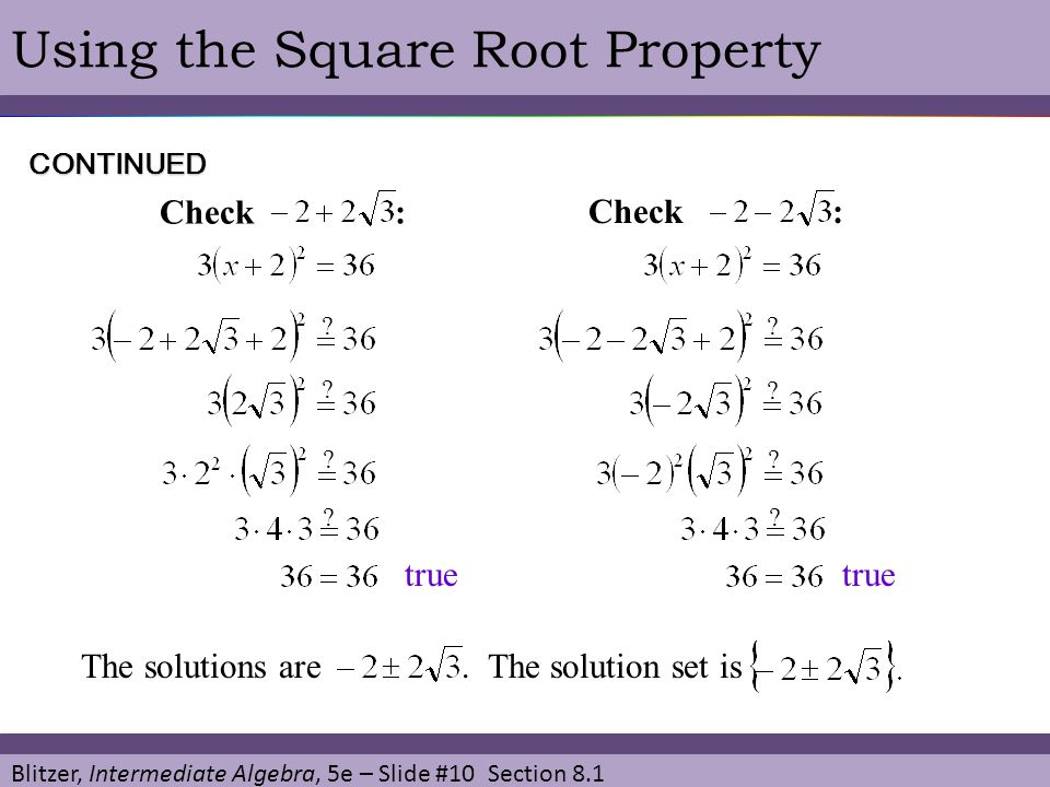 Using the Square Root Property