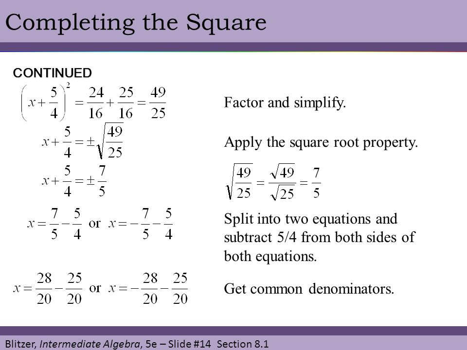 Completing the Square Factor and simplify.