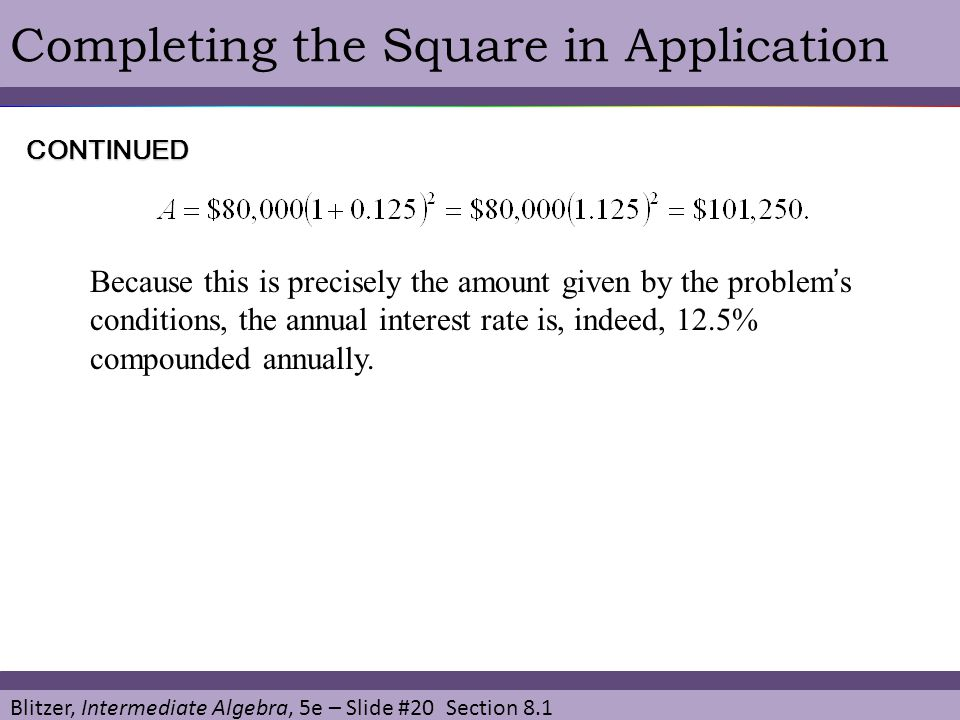 Completing the Square in Application