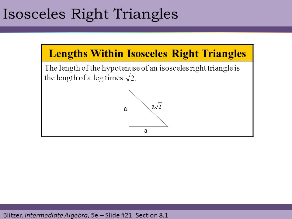 Lengths Within Isosceles Right Triangles
