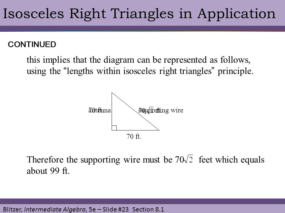 Isosceles Right Triangles in Application