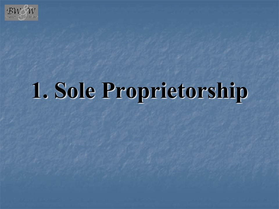 1. Sole Proprietorship
