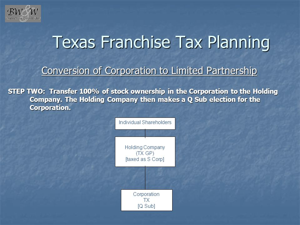 Texas Franchise Tax Planning