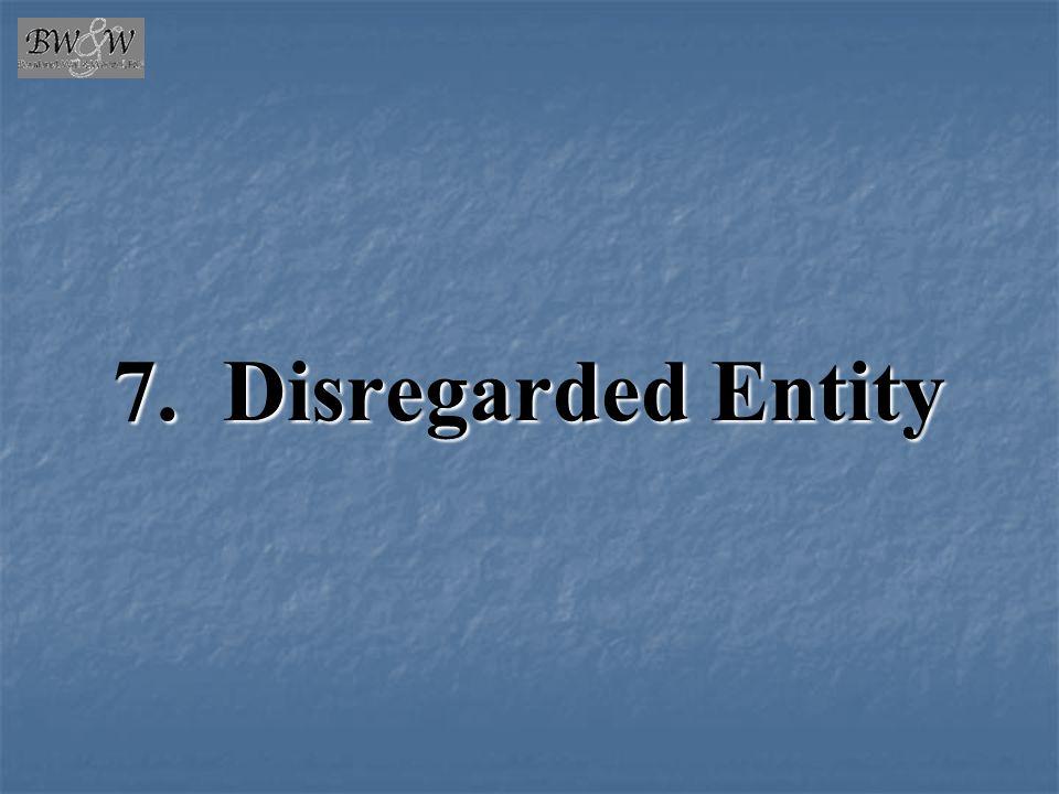 7. Disregarded Entity