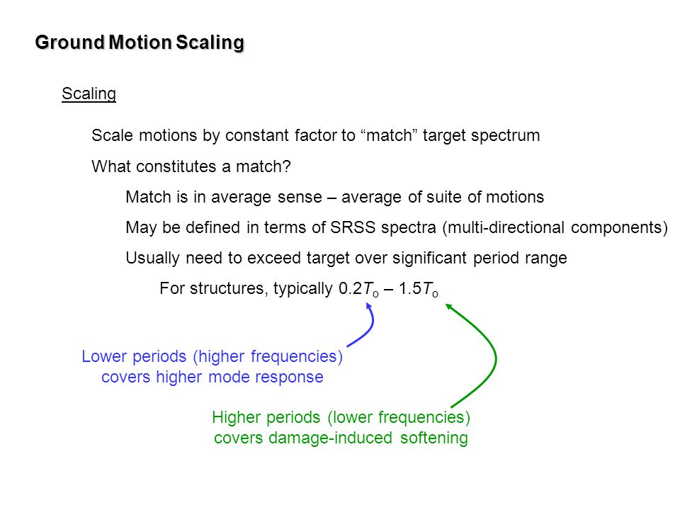 Ground Motion Scaling Scaling