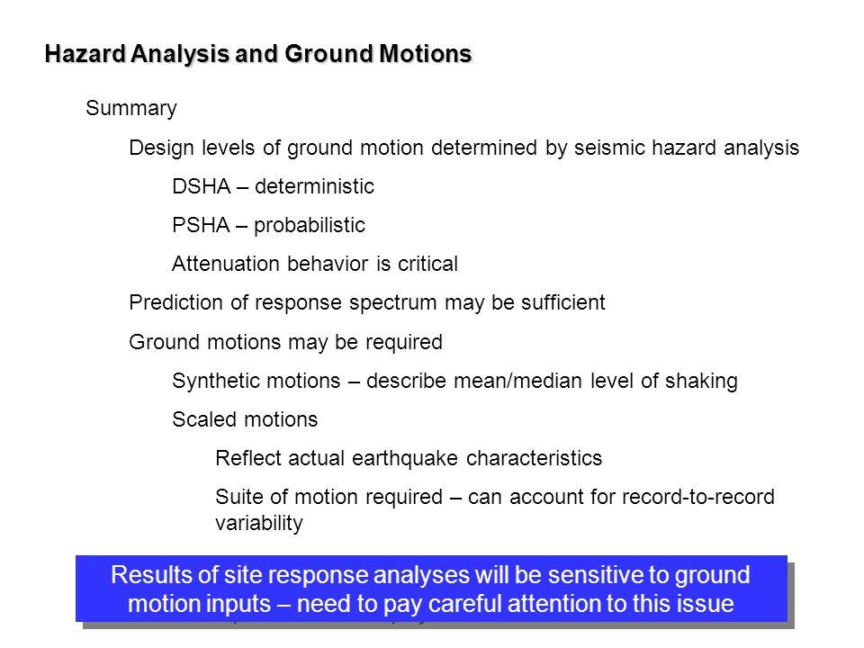 Hazard Analysis and Ground Motions