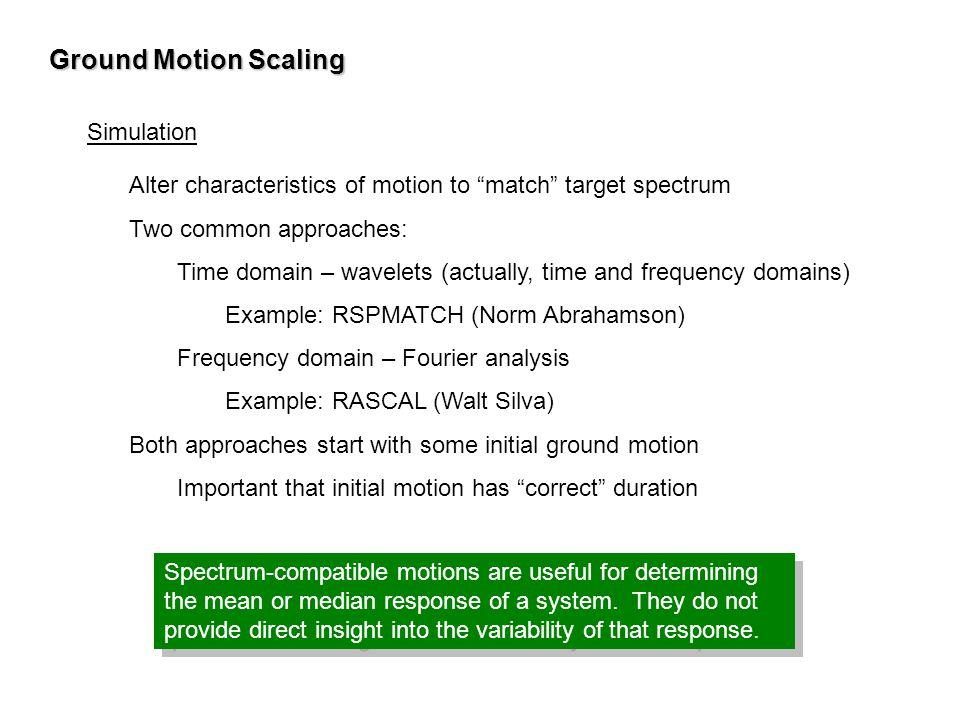 Ground Motion Scaling Simulation