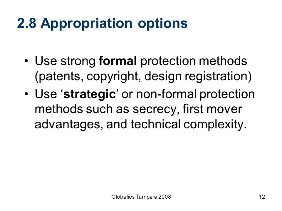 2.8 Appropriation options