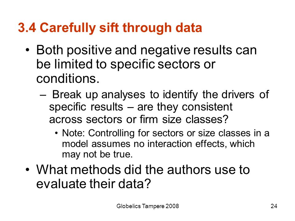 3.4 Carefully sift through data