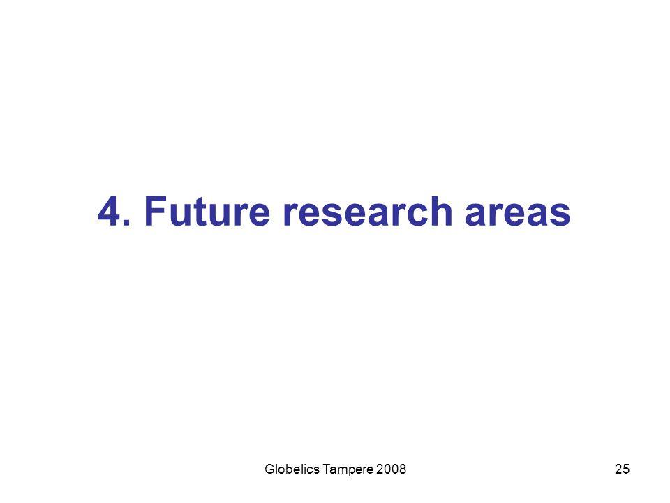 4. Future research areas Globelics Tampere 2008