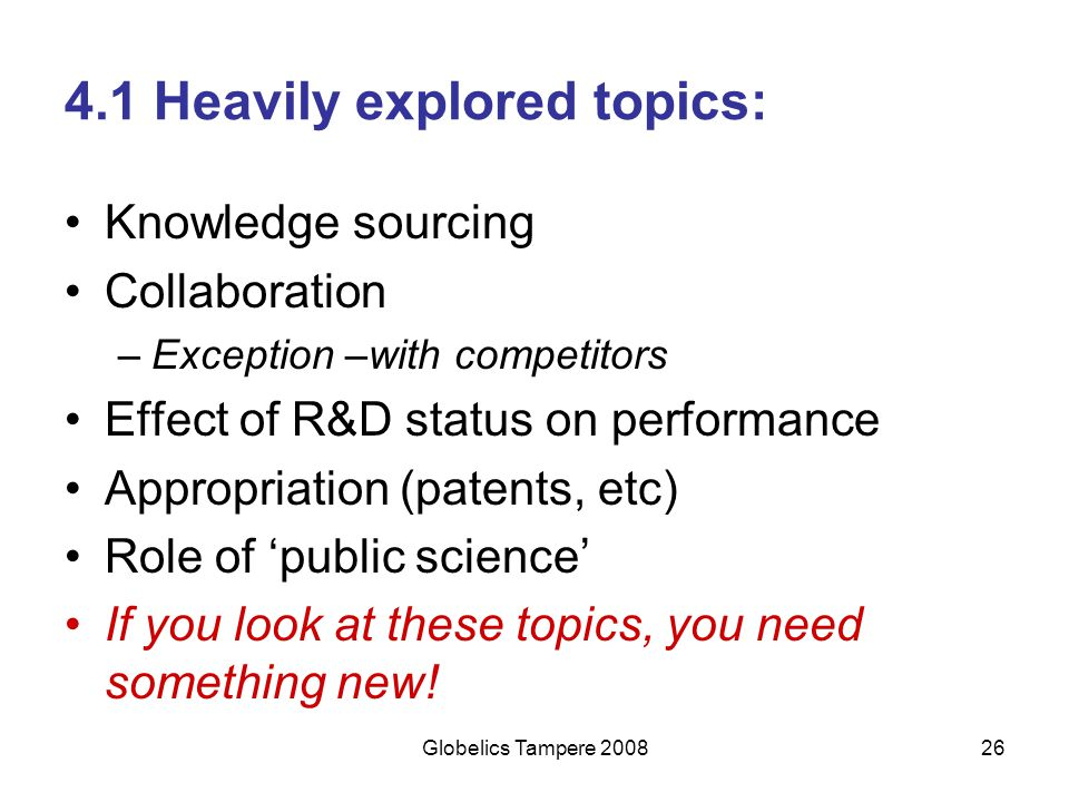 4.1 Heavily explored topics: