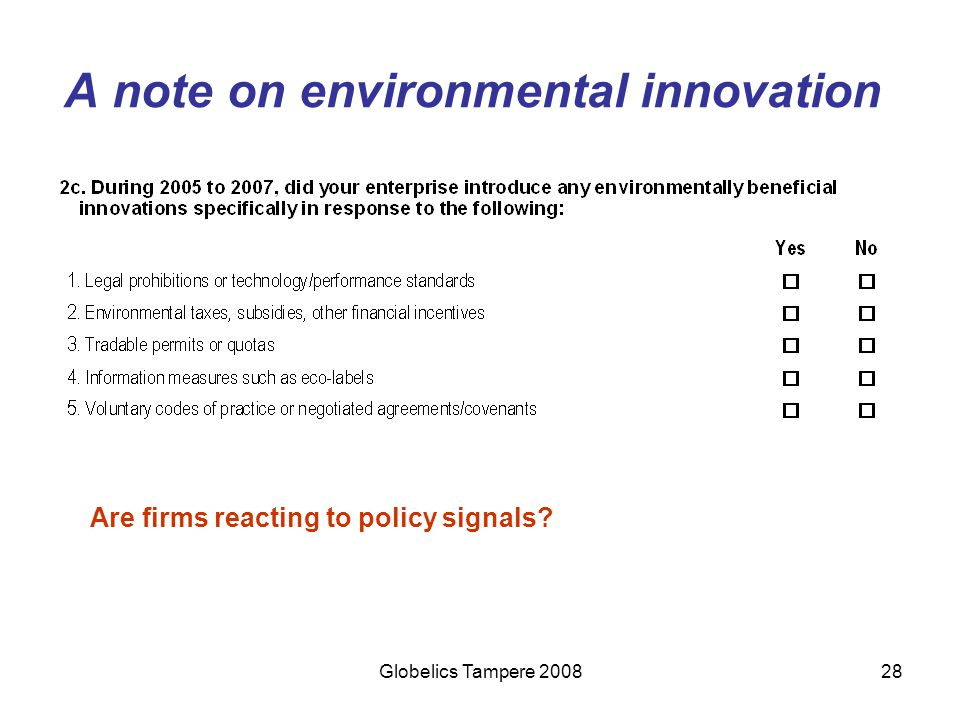 A note on environmental innovation