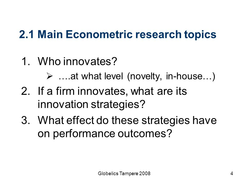 2.1 Main Econometric research topics