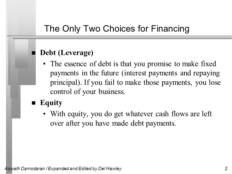 The Only Two Choices for Financing