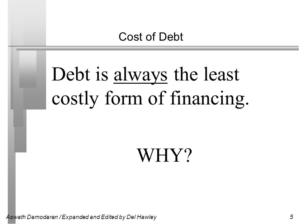 Cost of Debt Debt is always the least costly form of financing. WHY