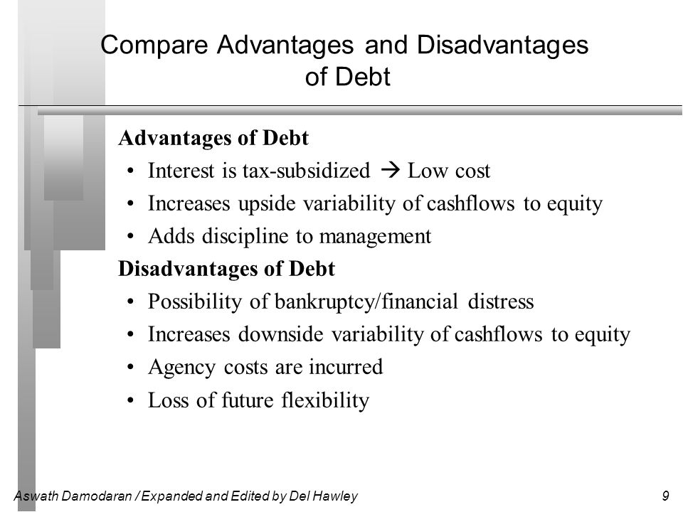 Compare Advantages and Disadvantages of Debt