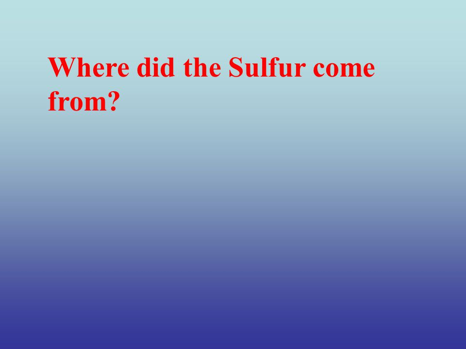 Where did the Sulfur come from