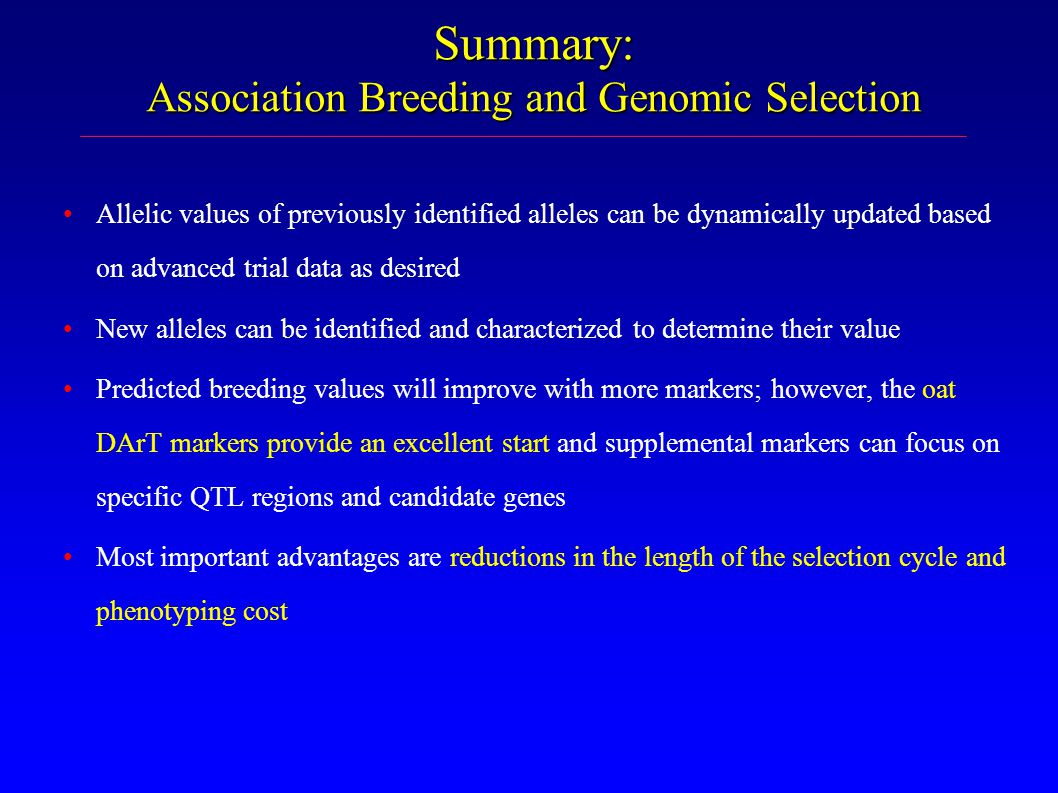 Summary: Association Breeding and Genomic Selection