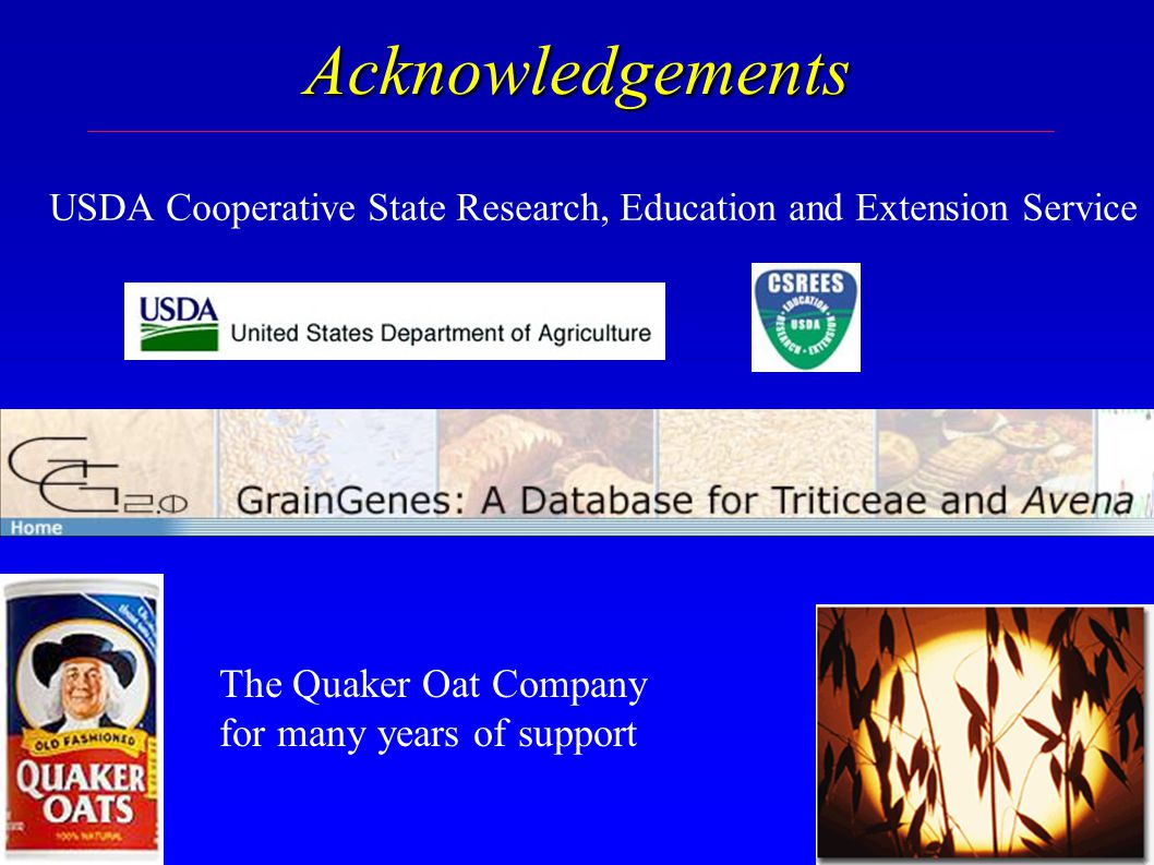 Acknowledgements The Quaker Oat Company for many years of support