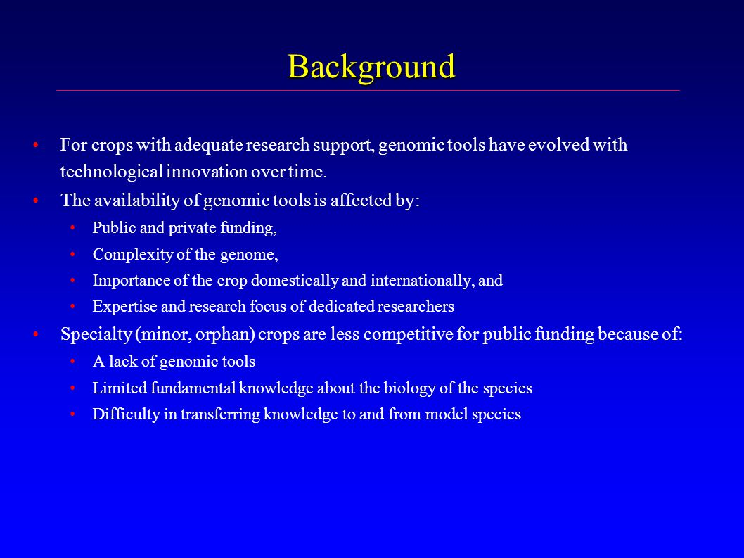 Background For crops with adequate research support, genomic tools have evolved with technological innovation over time.
