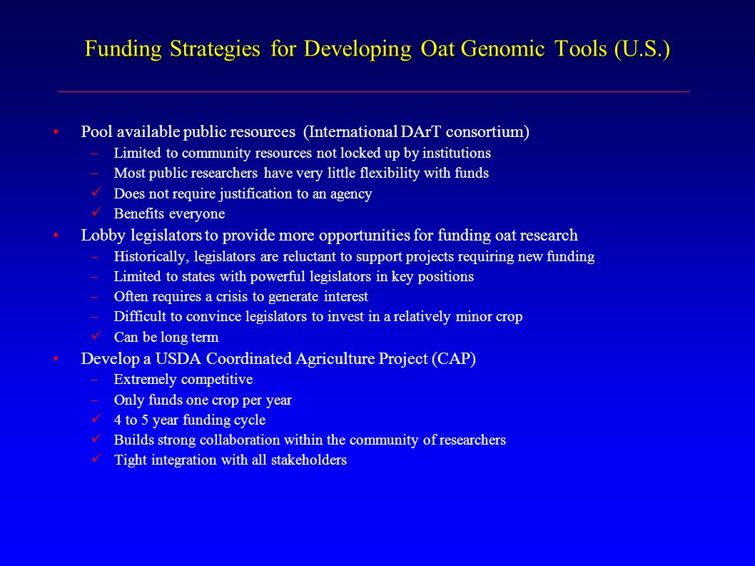 Funding Strategies for Developing Oat Genomic Tools (U.S.)