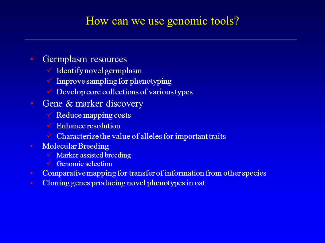 How can we use genomic tools