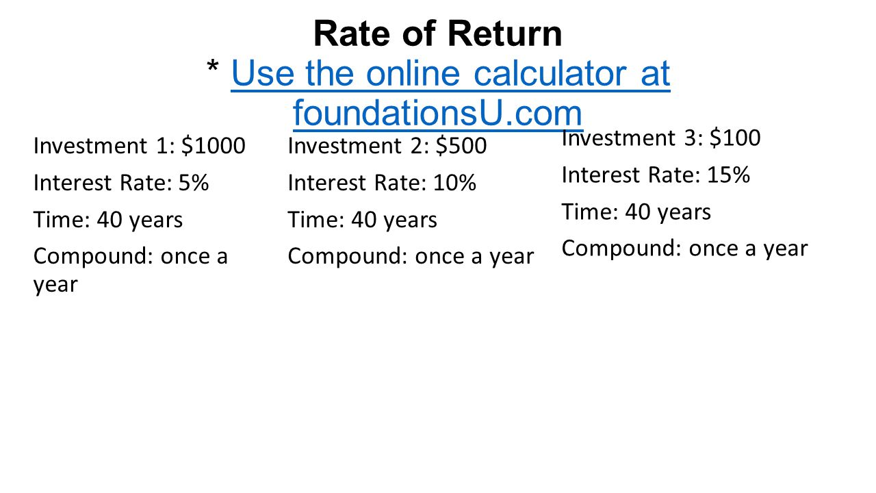 Rate of Return * Use the online calculator at foundationsU.com