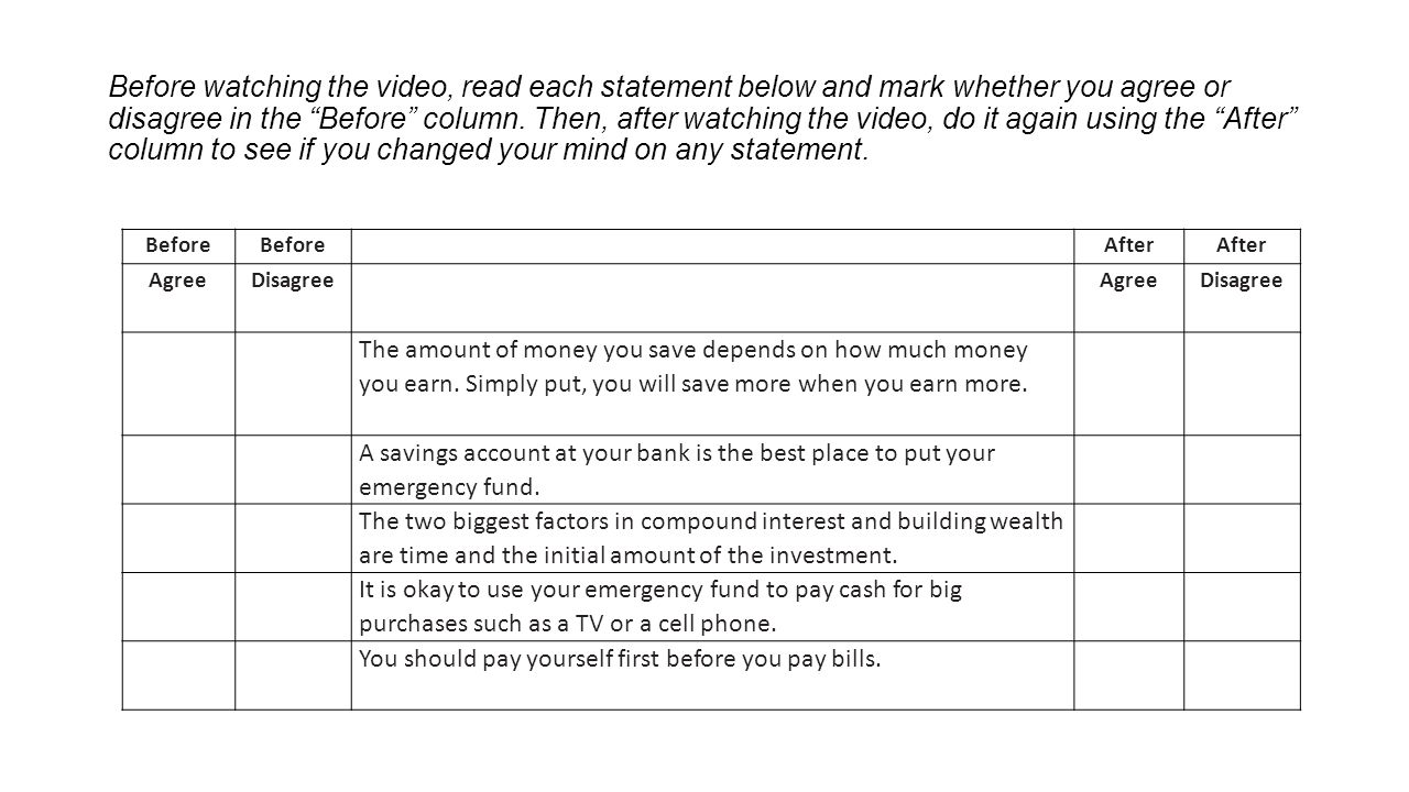 Before watching the video, read each statement below and mark whether you agree or disagree in the Before column. Then, after watching the video, do it again using the After column to see if you changed your mind on any statement.