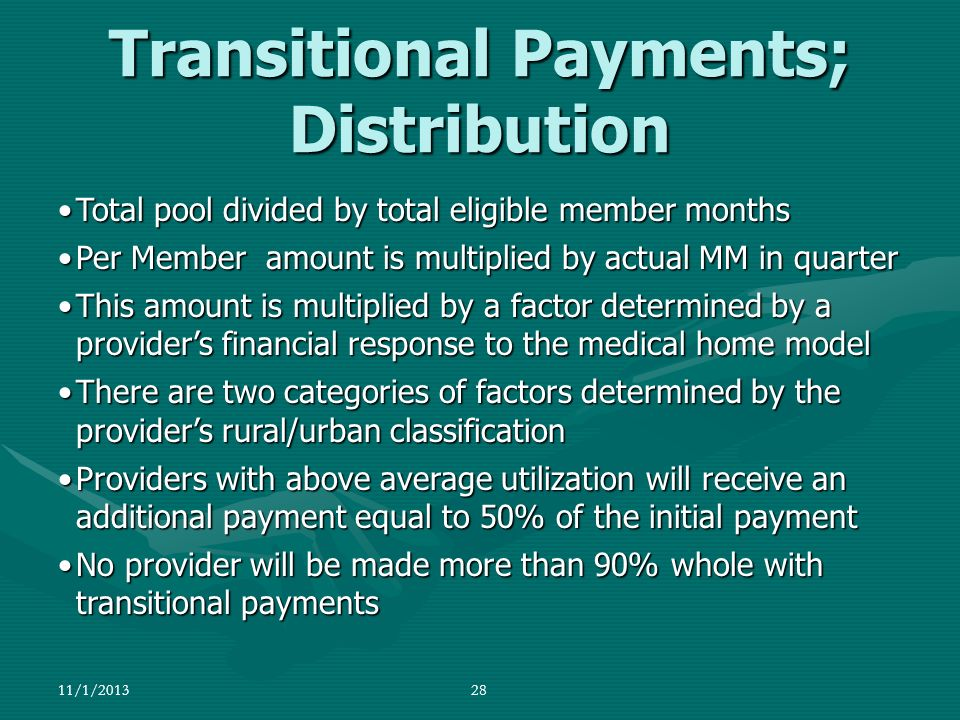 Transitional Payments; Distribution