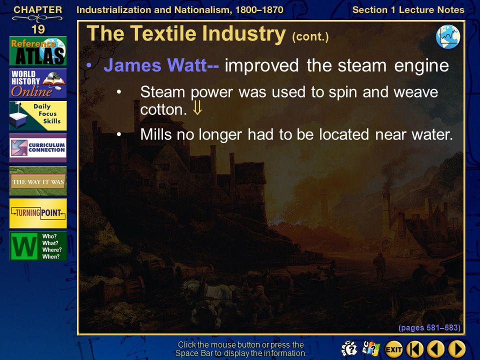 The Textile Industry (cont.)