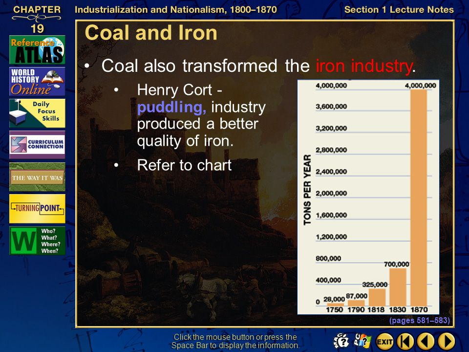 Coal and Iron Coal also transformed the iron industry.