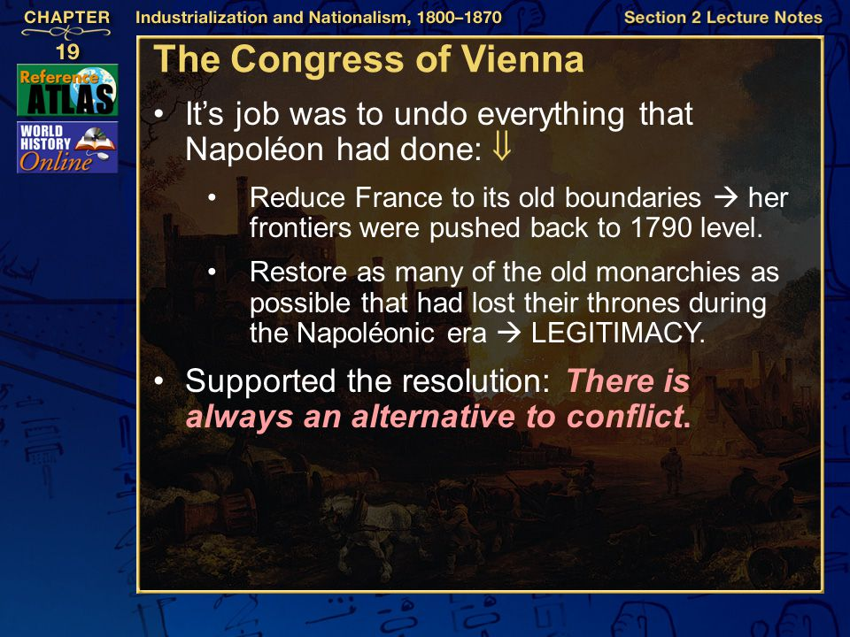 The Congress of Vienna It's job was to undo everything that Napoléon had done: 