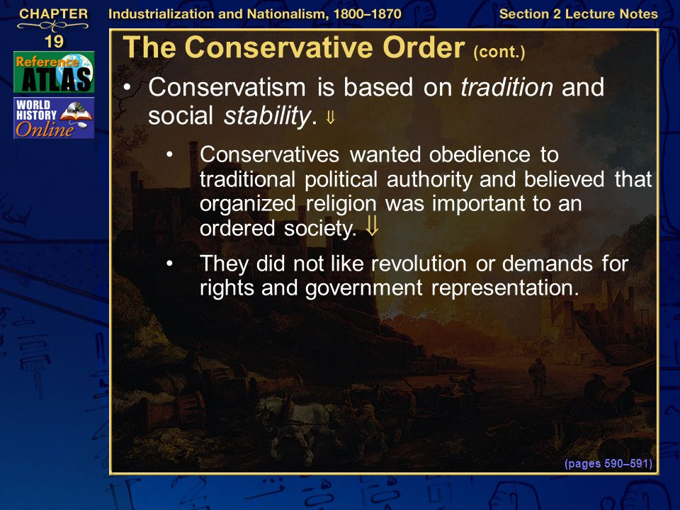The Conservative Order (cont.)