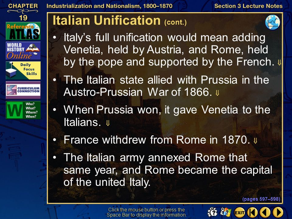 Italian Unification (cont.)