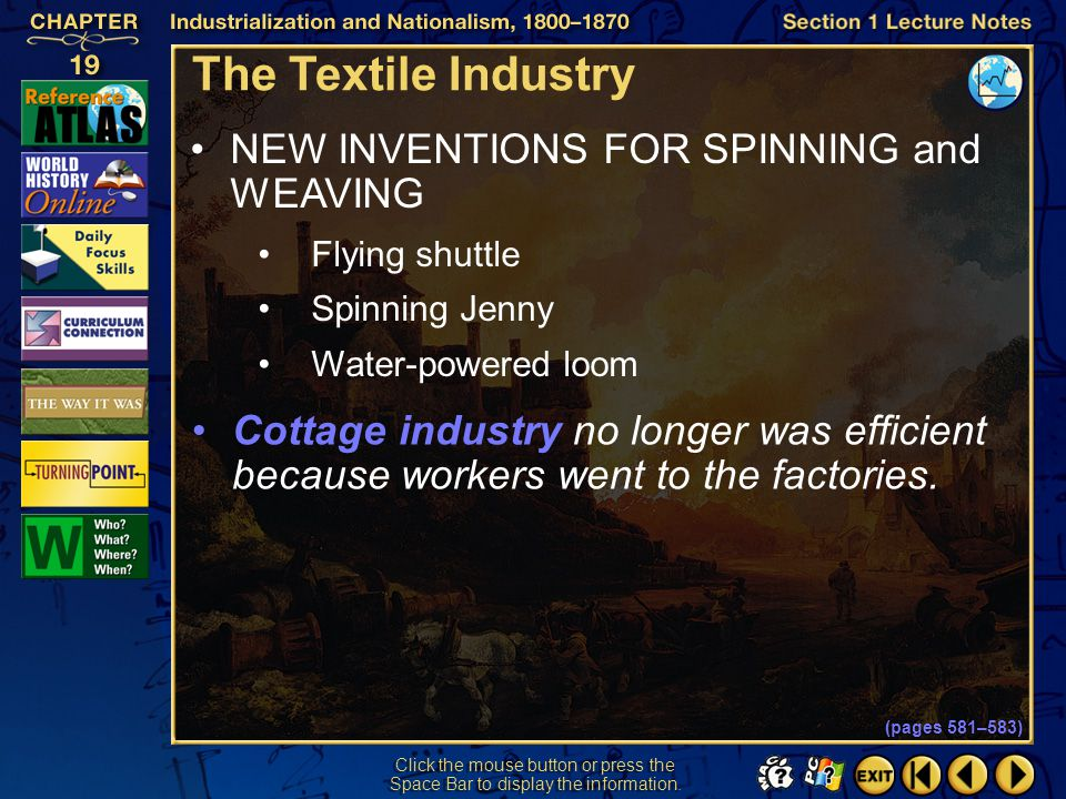 The Textile Industry NEW INVENTIONS FOR SPINNING and WEAVING