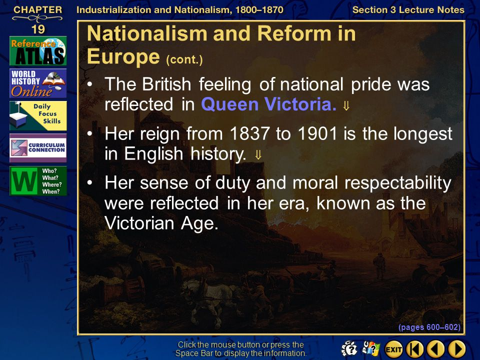 Nationalism and Reform in Europe (cont.)