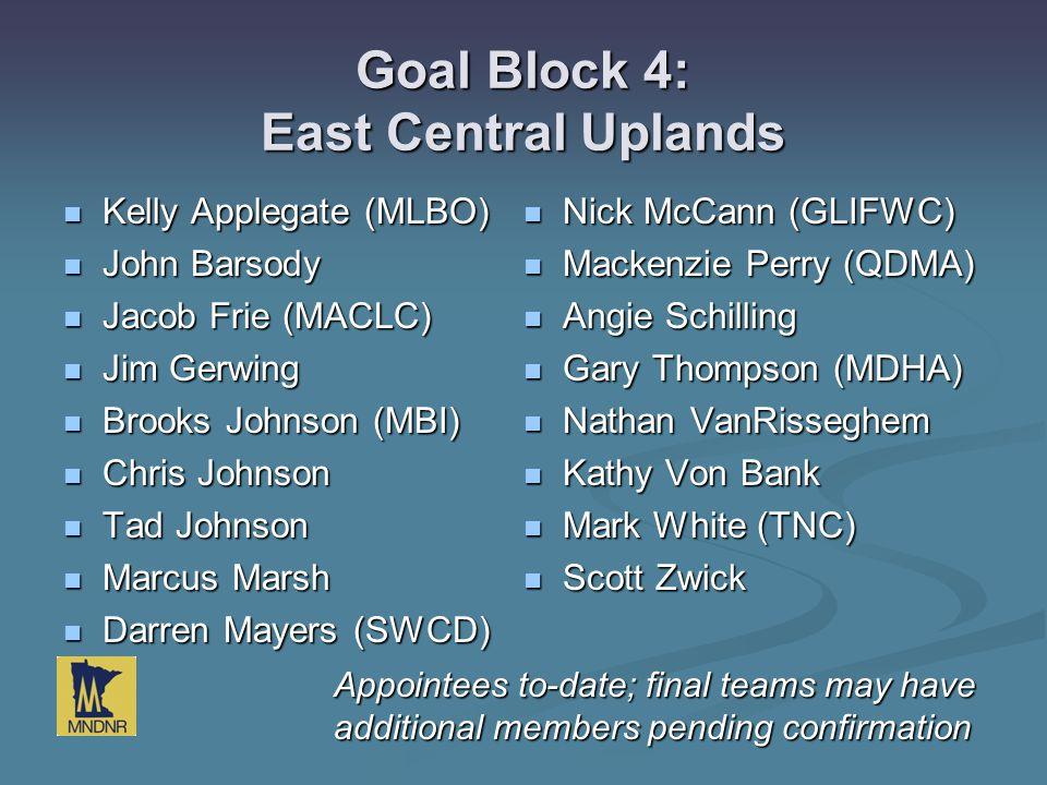 Goal Block 4: East Central Uplands