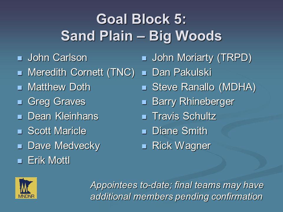 Goal Block 5: Sand Plain – Big Woods