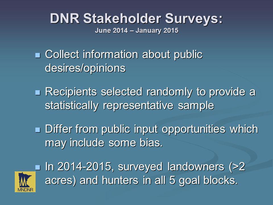 DNR Stakeholder Surveys: June 2014 – January 2015