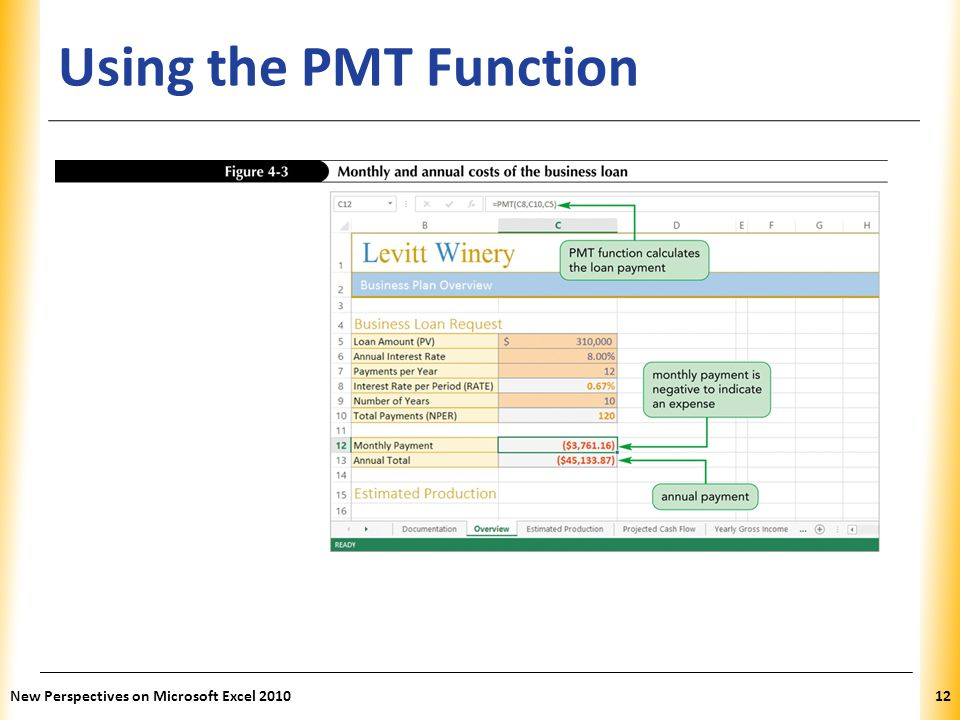 Using the PMT Function New Perspectives on Microsoft Excel 2010