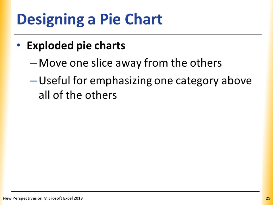 Designing a Pie Chart Exploded pie charts