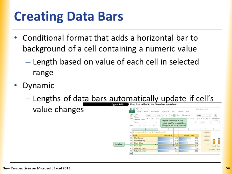 Creating Data Bars Conditional format that adds a horizontal bar to background of a cell containing a numeric value.